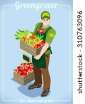 farmer showcase logo. isometric ... | Shutterstock .eps vector #310763096
