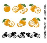 oranges set. vector | Shutterstock .eps vector #310806506