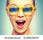 amazed girl in shades with... | Shutterstock . vector #310810655