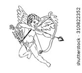 flying cupid with a arrow and... | Shutterstock .eps vector #310822352