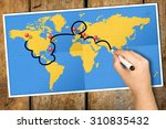 hand tracking travel itinerary... | Shutterstock . vector #310835432