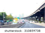 photo of blurred traffic and... | Shutterstock . vector #310859738
