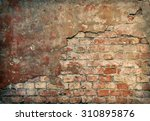 Old Damaged Brick Wall With...