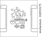 thin line flat design of social ...
