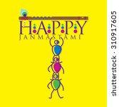 happy krishna janmashtami... | Shutterstock .eps vector #310917605