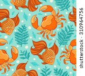 seamless pattern with fish and... | Shutterstock .eps vector #310964756
