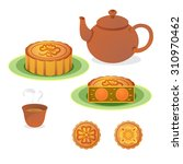 vector of moon cake with hot...