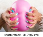 painted nails and pink balloon   Shutterstock . vector #310982198