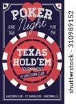 cool texas hold'em poker night...   Shutterstock .eps vector #310989152
