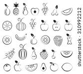 fruit icons set  black isolated ... | Shutterstock .eps vector #310992212
