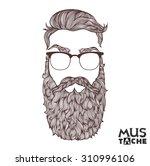 mustache beard and hair style.   Shutterstock .eps vector #310996106
