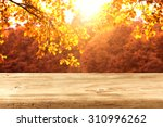Wooden Desk Top And Autumn...