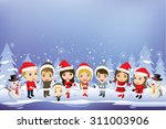 kids having a christmas party ... | Shutterstock .eps vector #311003906
