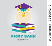 piggy bank in graduate hat... | Shutterstock .eps vector #311004242