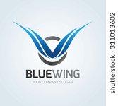 blue wing logo wing logo eagle... | Shutterstock .eps vector #311013602