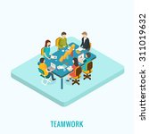 isometric 3d meeting and... | Shutterstock .eps vector #311019632