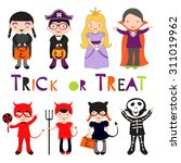 cute colorful halloween kids... | Shutterstock .eps vector #311019962