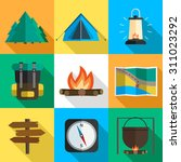 vector set of hiking icons.... | Shutterstock .eps vector #311023292
