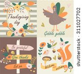 Thanksgiving Day In Vector Set...