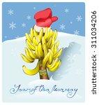 christmas tree made of bananas  ... | Shutterstock .eps vector #311034206