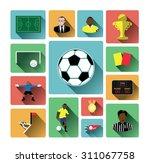 modern flat soccer icons set... | Shutterstock .eps vector #311067758