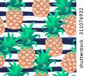 pineapples with grunge curved... | Shutterstock .eps vector #311076932