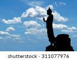 silhouette of  buddha image... | Shutterstock . vector #311077976