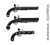 flintlock pistol or gun vector