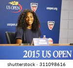 Small photo of NEW YORK - AUGUST 27, 2015: Twenty one times Grand Slam champion Serena Williams during press conference at the Billie Jean King National Tennis Center before US Open 2015 tournament in Flushing, NY