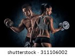 man and woman isolated on a... | Shutterstock . vector #311106002