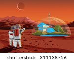 space home on mars. the base...