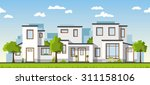 three modern white houses in a... | Shutterstock .eps vector #311158106