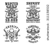 set of sheriff and bandit... | Shutterstock . vector #311158532