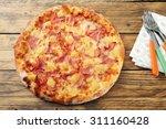 Top View Hawaiian Pizza Rustic...