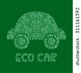 eco car on dark green... | Shutterstock .eps vector #311161592