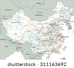 high detailed china road map... | Shutterstock .eps vector #311163692