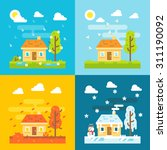 4 seasons house flat design set ... | Shutterstock .eps vector #311190092