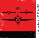 airplane design on red... | Shutterstock .eps vector #311194886