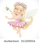 cute little spring fairy girl... | Shutterstock .eps vector #311203016