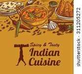 hand drawn of indian food and... | Shutterstock .eps vector #311205272