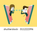 man and woman talking on a... | Shutterstock .eps vector #311222396