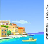 seascape with yacht and... | Shutterstock .eps vector #311233712