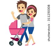 cute young happy couple pushing ... | Shutterstock .eps vector #311250308