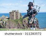 Traditional Scottish Bagpiper...