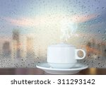 white coffee cup with smoke on... | Shutterstock . vector #311293142