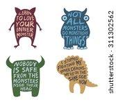 set of monster typography... | Shutterstock .eps vector #311302562