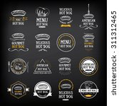 hot dog badges and menu design... | Shutterstock .eps vector #311312465
