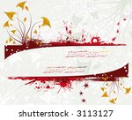 grunge paint floral background... | Shutterstock .eps vector #3113127