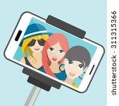 three girls making summer...   Shutterstock .eps vector #311315366