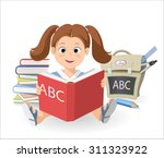 smiling little girl with a book ...